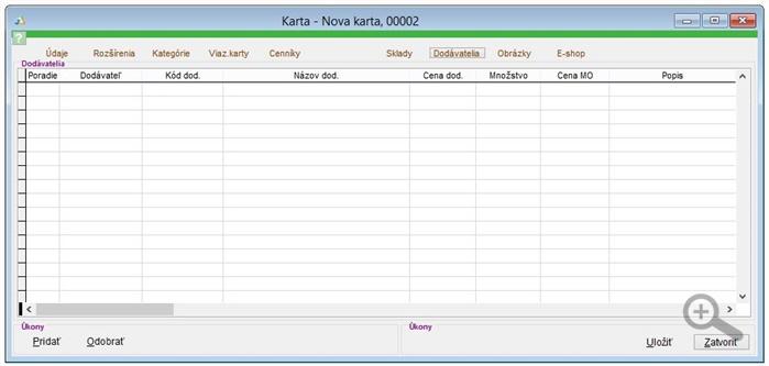 Popis záložky Dodávatelia na skladovej karte