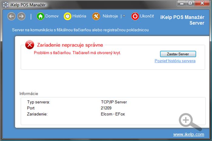 POS Manažér Server - problém zariadenia