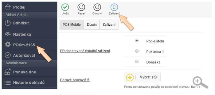 Zobrazení možnosti pro otevření seznamu zákaznických zařízení
