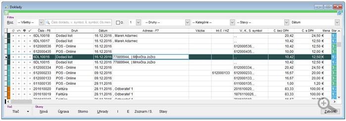 Zoznam finančných dokladov v aplikácii