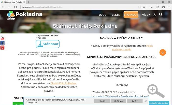 Zobrazení stránky s instalačním souborem se zobrazenou možností na stáhnutí nebo spustění instalace