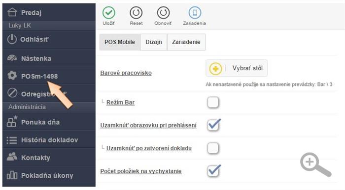 Nastavenie zariadení v menu iKelp POS Mobile