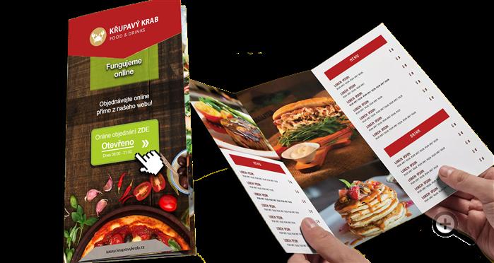 Jídelní lístek může sloužit jako reklamní plocha