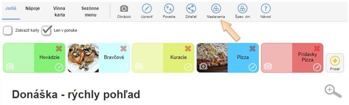 Donáška - Nastavenia v menu aplikácie