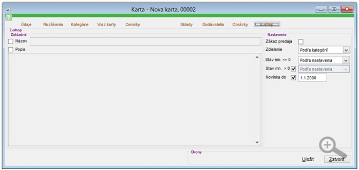 Popis záložky E-shop na skladovej karte