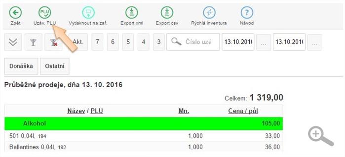 Vytvoření nové PLU Uzávěrky v iKelp POS Mobile