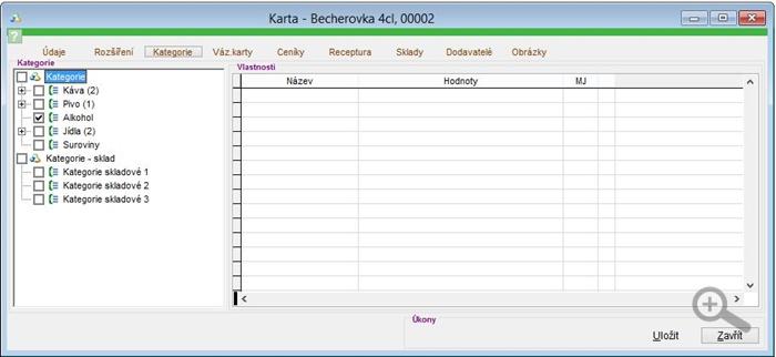 Zařazení skladové karty kategorie